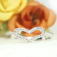 Women's Silver Heart Ring Crystal Rhodium Plated Ring Jewelry Wedding Bridesmaid