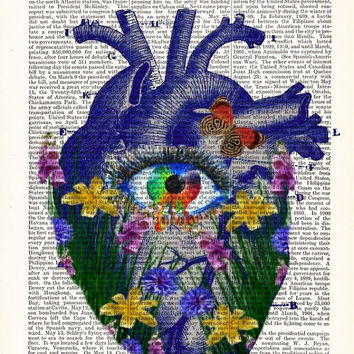 Blue Heart Floral Heart Print Anatomical Heart and Flowers Human Anatomical Heart Poster Heart and Flowers Print Science Gift-  Heart Prints
