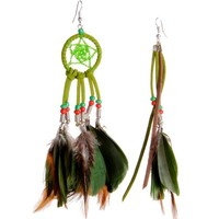 Zlyc Handmade Dreamcatcher Asymmetric Earrings - Tribal/hippies/bohemian Earrings (Green)