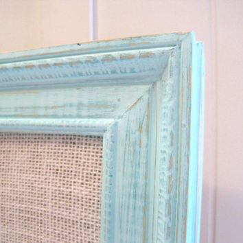 Memo Board Cork Aqua Light Turquoise White Burlap / Distressed / Vintage Frame Office Wedding Display Organize