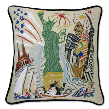 Lady Liberty Hand Embroidered Pillow