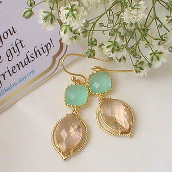 Mint Green Bridesmaid Earrings - Mint & Coral Peach Gold Plated Hollywood Style Wedding Maid of Honor Dangle Drop Earrings