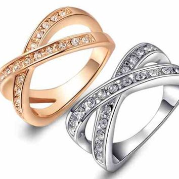 """Trendy Infinity """"8"""" or """"X"""" Crystal Alloy Plated Gold/Silver Engagement Ring"""