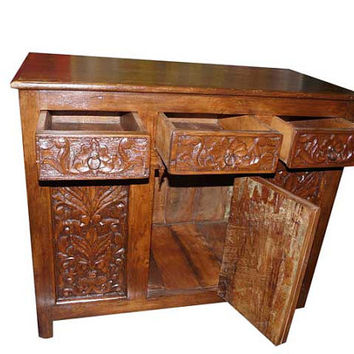 Antique Sideboard indian Chest Floral Carved teak Wooden vintage Buffets india furniture