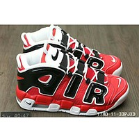 Nike Air More Uptempo men and women casual fashion shoes F-HAOXIE-ADXJ Red + black letters