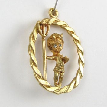 Your Little Devil - Vintage Winged Devil Charm or Pendant with Rhinestone Eyes & Trident Pitchfork, Great for Halloween, Gold Tone