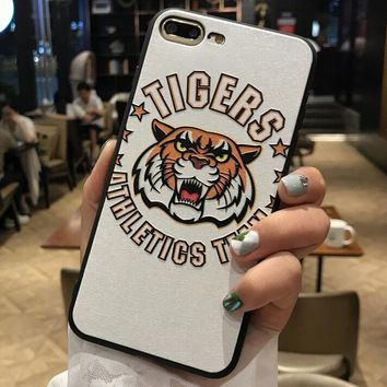 Tiger Pattern Case for iPhone X 8 7 6S Plus &Gift Box