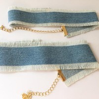 Denim Choker - Large and Small