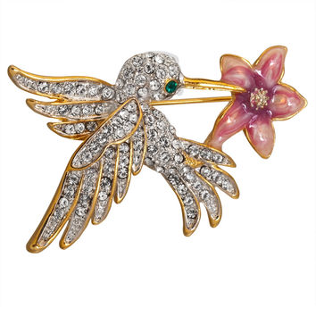Jeweled Hummingbird with Flower Gold-Tone Pin