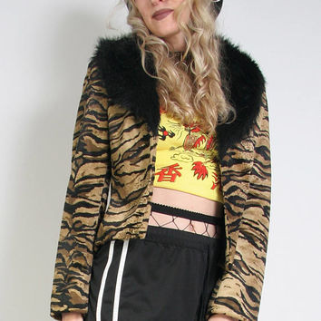 90s Grunge Faux Tiger Jacket With Big Fuzzy Collar - Y2K Cyber Goth Jacket - 90s Angel - Animal Print - Faux Fur Collar - Glam Rock