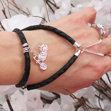 Genuine Braided Leather Slave Bracelet Ring with Sterling Silver plated Motorcycle Charm. Harley Davidson themed Adjustable Bracelet