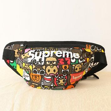 Supreme Popular Women Men Cartoon Head Print Canvas Chest Package Outdoor Sports Bag Inclined Shoulder Bag Backpack