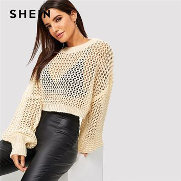 SHEIN Apricot Modern Lady Loose Knit Sheer Crop Sweater Casual Round Neck Long Sleeve Pullovers Women Autumn Sweaters