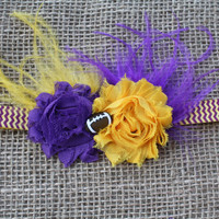 LSU Purple and Gold Football Headband with by MyPrettyBitty