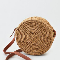 AEO Round Straw Crossbody Purse, Natural