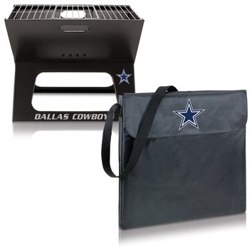 Dallas Cowboys 'X-Grill' Portable Charcoal BBQ Grill-Black Digital Print