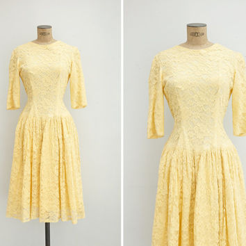 1950s Dress - Vintage 50s Yellow Lace Dress - Retama Dress