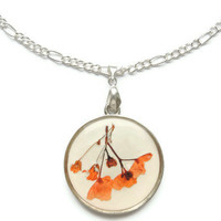 Pressed flowers pendant, hydrangeas in resin, Silver necklace, Orange pendant,  Floral charm, Spring