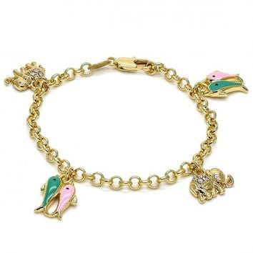 Gold Layered 03.63.1365.06 Charm Bracelet, Elephant and Fish Design, with White Crystal, Multicolor Enamel Finish, Gold Tone