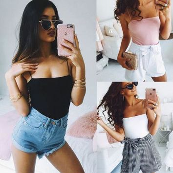Fashion Women Low cut Bodysuit Ladies Sleeveless Stretch Jumpsuit Romper Cami Sexy Backless Solid Color Plain Leotard Tops