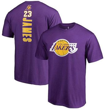 Men's Los Angeles Lakers LeBron James Fanatics Branded Purple Backer Name and Number T-Shirt