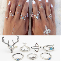7PCS\SET Bohemian Style Vintage Anti Silver Color Rings turquoise deer Fawn geometry arrow Rings Set for women J-295
