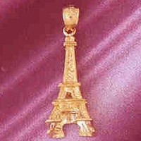Gold charms- 14K GOLD EIFFEL TOWER CHARM/PENDANT 3D # 4914