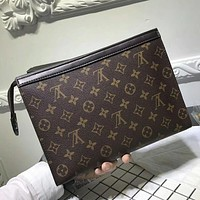 Tagre™ Louis Vuitton Woman Men Envelope Clutch Bag Leather File Bag Tote Handbag