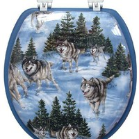 Ginsey Soft Embroidered Toilet Seat, Wolves