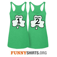 Drunk 1 Thing 1 Matching St Patricks Day green tank tops for pub crawls and parties!