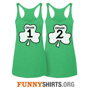 6ce2a059d Drunk 1 Thing 1 Matching St Patricks Day green tank tops for pub crawls and  parties