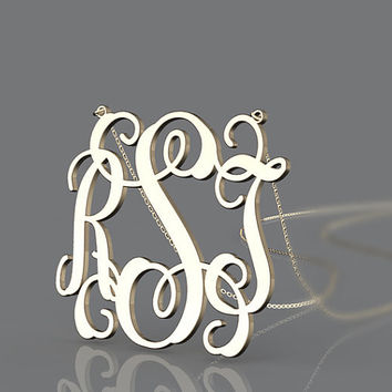 Necklace customized monogram 1.25 inch personalized plated in gold necklace for bridal jewelry