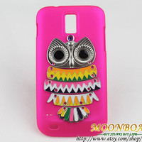 Cute Silvery Owl And Plum Hard Case For T-mobile Samsung Galaxy S 2 II S2 T989 MB699