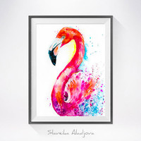 Flamingo watercolor painting print, bird watercolor, Flamingo illustration, Flamingo art, Flamingo painting, bird art, bird print
