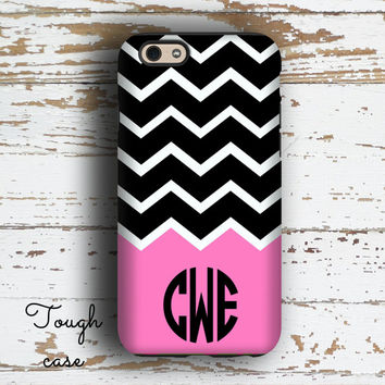 Unique sister gifts, Girls Iphone 6 case, Hot pink iPhone 5c case for girls, Chevron iPhone 5s case, Monogram iPhone 6s Plus case (1247P)