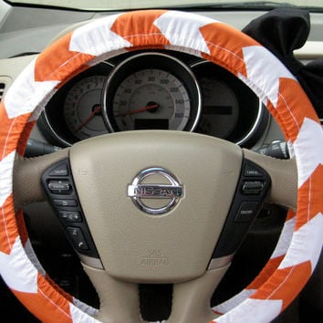 The Original Pumpkin Orange and White Chevron Steering Wheel Cover with Matching Black Bow