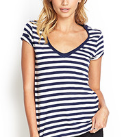 FOREVER 21 Striped V-Neck Cotton Tee