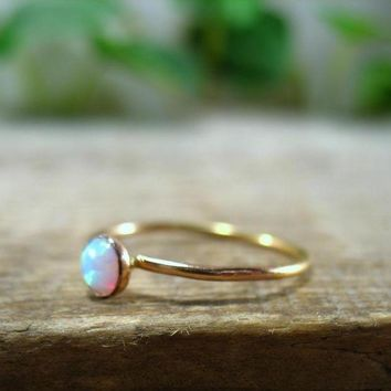 CREYXF7 Stacking Ring Gold White Fire Opal