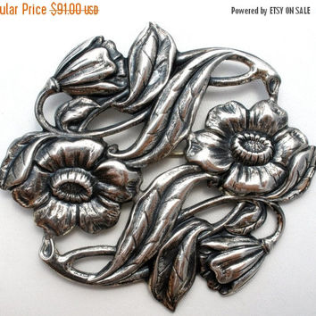 Sale Sterling Silver Brooch, Art Nouveau Flower, Wedding Jewellery, Antique Pin, Sash Ornament , Hair Accessory, Fashion Brooches
