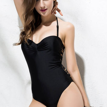 Black Wrapped Chest Backless One-Piece Swimwear