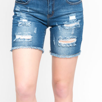 VIP JEANS DESTROYED BERMUDA SHORTS FRAYED HEM