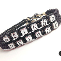 Weirdo Couples Bracelets Black Hemp Set of 2