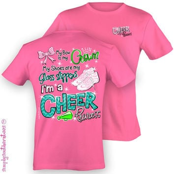 Simply Southern Funny Cheer Princess Chevron Cheerleader Bright T Shirt