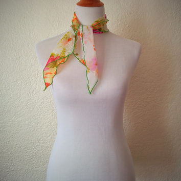 Vintage 60's Bright Scarf Green Floral Oblong Hair Tie