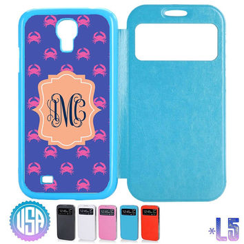 Custom your Monogram Crab Pattern Flip Leather Cover @ Samsung Galaxy S4 case , S3 , Samsung Note 3 / Note 2 , IPhone 5 5S , IPhone 4 4S #L5