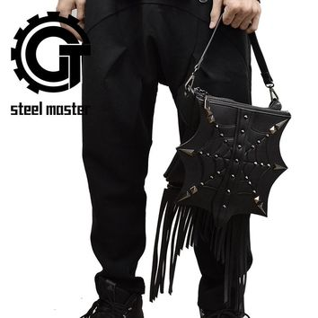 Unisex black cobweb spider web punk shoulder bag goth men women tassel bags vintage