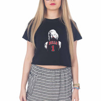 Marilyn Monroe Chicago Bulls For Womens Crop Shirt **