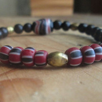 African Bead, Unisex Tribal, Stacking Bracelet, Red, Black , White Striped, Trade Beads, Krobos Bead, Brass, Wood, For Men, Vegan