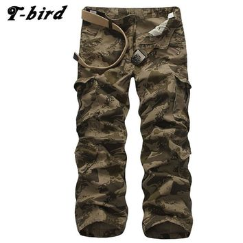 T-Bird New Arrived 2017 Brand Casual Joggers Multi-Pocket Compression Pants Men Cotton Trousers Calabasas Cargo Pants Mens CXMSN