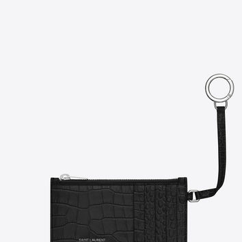 Classic SAINT LAURENT 5 Fragments Zip Pouch with Key Ring in Black Crocodile Embossed Shiny Leather
